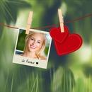 Polaroid con los corazones para el Día de San Valentín