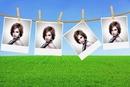 4 hanging polaroids