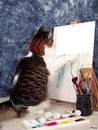 chat qui peint