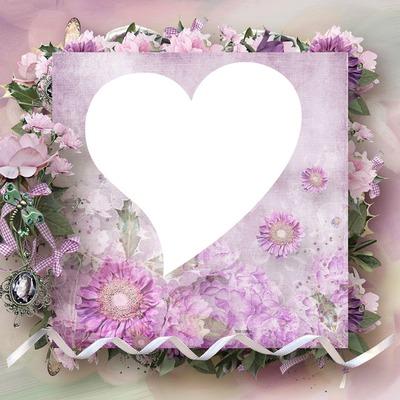 Montage photo cadre coeur fleurie rose romantique pixiz for Auteur romantique